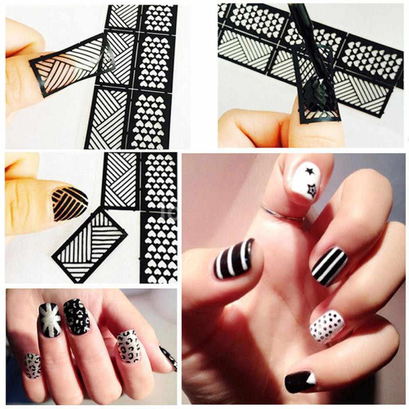 2019# 1 Sheets New Vinyls Nail Hollow Irregular Grid Stencil Reusable Manicure Stickers Guide Stamping Template Nail Art Tools