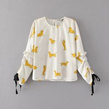 2017 Spring and Summer New Arrival Women Fashion Puppy Print Long Sleeves Blouse, Female O-neck Lace-up Shirts Casual Tops
