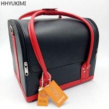 Hhyukimi Женщины Макияж Организатор большой емкости Многослойные вагонкой Профессиональная Косметика сумка чемодан Toolbox чехол для хранения