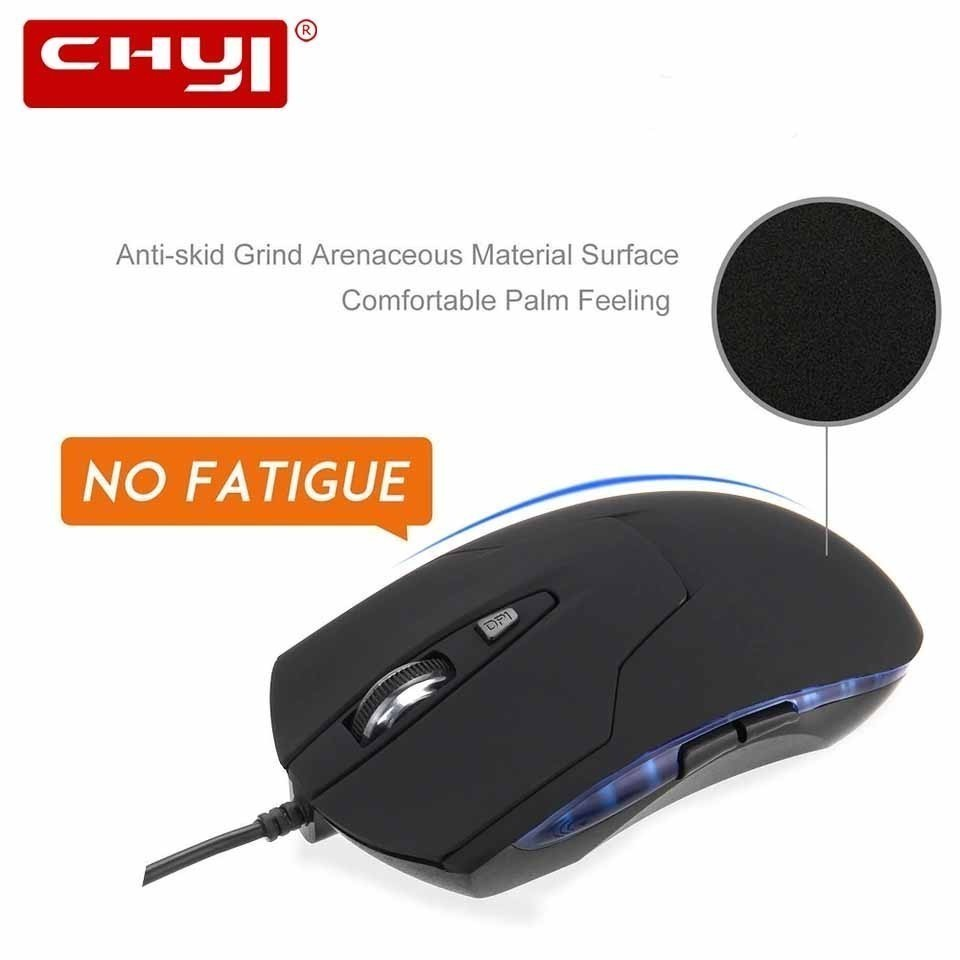 CHYI Gaming Mouse 6 Button Ergonomic Optical Gamer Mause Wired Usb Cable Computer Mice 1600 DPI 3D LED Cheap PC Mice For Laptop image