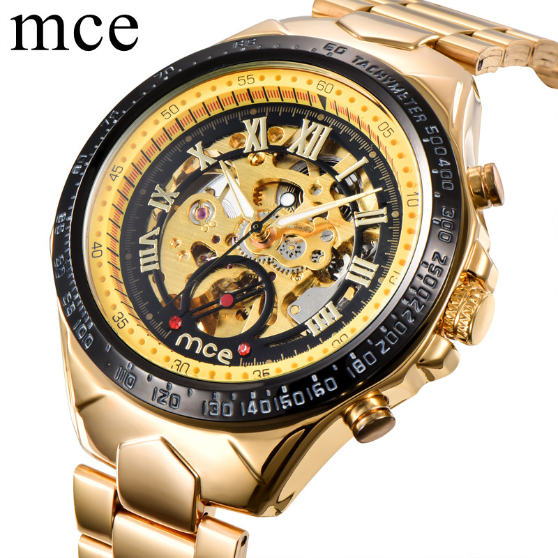 MCE Men Watches Automatic Mechanical Gold  Male Skeleton Wrist Watch Stainless Steel Band Luxury Brand Reloj Automatico Hombre shenhua brand black dial skeleton mechanical watch stainless steel strap male fashion clock automatic self wind wrist watches