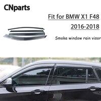 CNparts 4pcs ABS For BMW X1 F48 2016 2017 2018 Car Styling Smoke Window Sun Rain Visor Keep Fresh Air convection Accessories