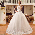 2016 New Arrival Cheap bandage Lace Bride dress laciness bow wedding dresses free shipping hot sales Custom size D-6235