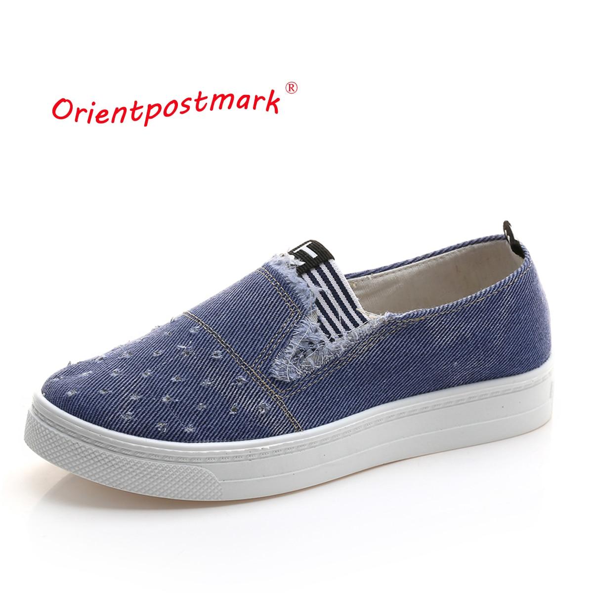 OrientPostMark Women Jeans Shoes flats Fashion Casual Denim Shoes Breathable Shoes High Quality Soft Soles Students Canvas Shoes