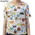 Estilo de verano Camisetas Para Las Mujeres Tops Moda Impreso Bolsas de Colores de Manga Corta Camiseta de la Gasa de Gran Tamaño Camisetas Mujer