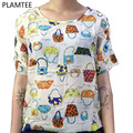 Summer Style T-Shirts For Women Tops Fashion Printed Colorful Bags Short Sleeve Chiffon T Shirt Oversized Camisetas Mujer