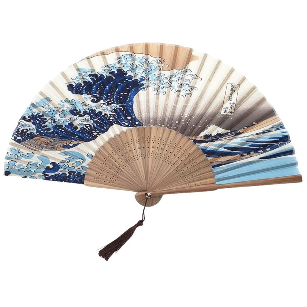 Silk Hand Fan Mount Fuji Kanagawa Waves Japanese Folding Fan Pocket Fan Wedding Accessories Decoration Gift Event Supplies
