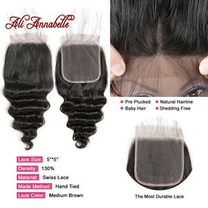Image 4 - 3 Bundles Peruvian Loose Wave Bundles With Closure 5*5 Lace Closure 4Pcs/Lot Human Hair Weave Bundles With Closure