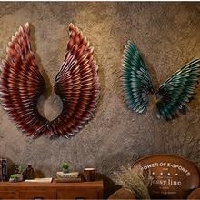 Nowy kolor Kreatywny wystrój ścian domu Streszczenie Retro Skrzydło Rzeźba Decor Figurka Dekoracyjne Metalowe Skrzydła Statua Tv Tło