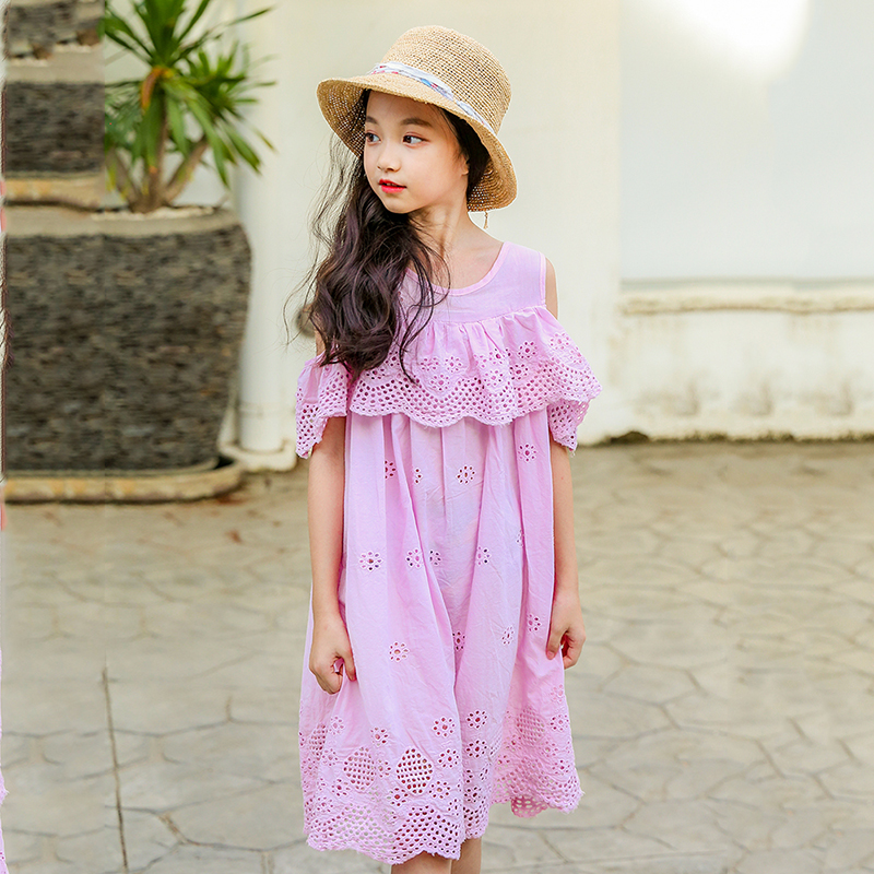 2f4166b8035ec cotton hollow out off shoulder holiday teenage girls dress summer ...