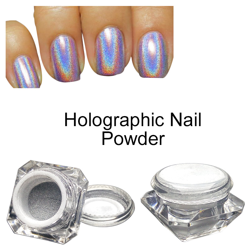 Saviland 1 Box Rainbow Pigment Chrome Nail Powder Nail Gel Lacquer 3D Nail Glitter Hologram Rainbow Holographic Powder