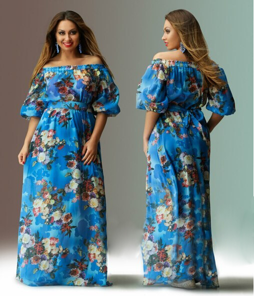 woman floral plus size dresses off shoulder half sleeve maxi long ...