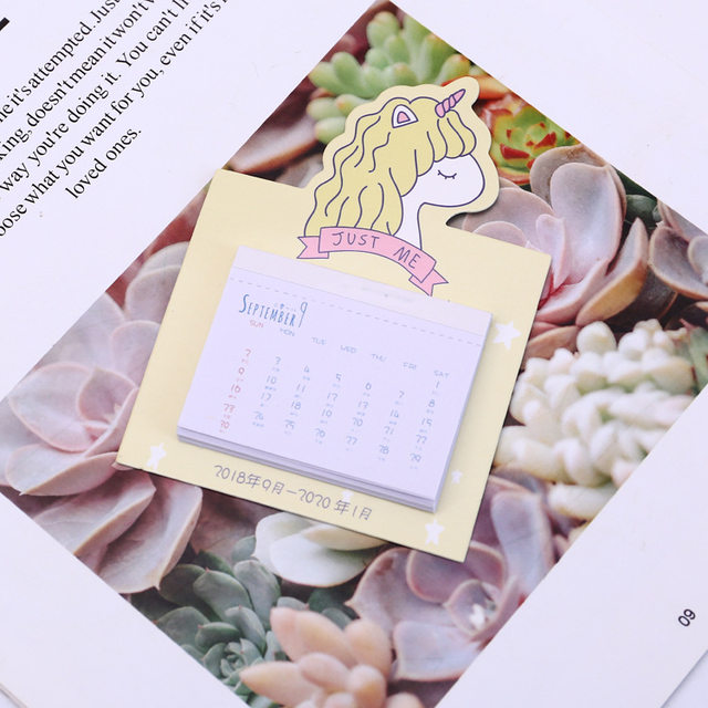 online shop 2019 cute unicorn calendar wall sticker mini portable