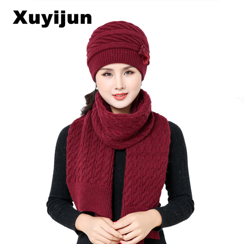 XUYIJUN Winter Hat Skullies Beanies Men Women Knitted Hat Scarf Winter Caps Mask Balaclava Bonnet Cap Wool Fur Beanies Hats 2018 skullies