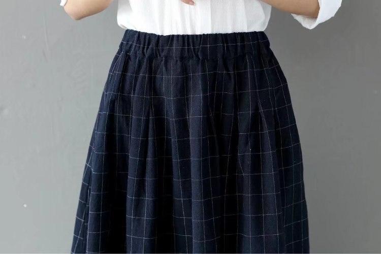 2018 frühling Frauen Casual Tasche A-Line Röcke Vintage Plaid Lose Röcke Retro Elastische Taille Midi Röcke