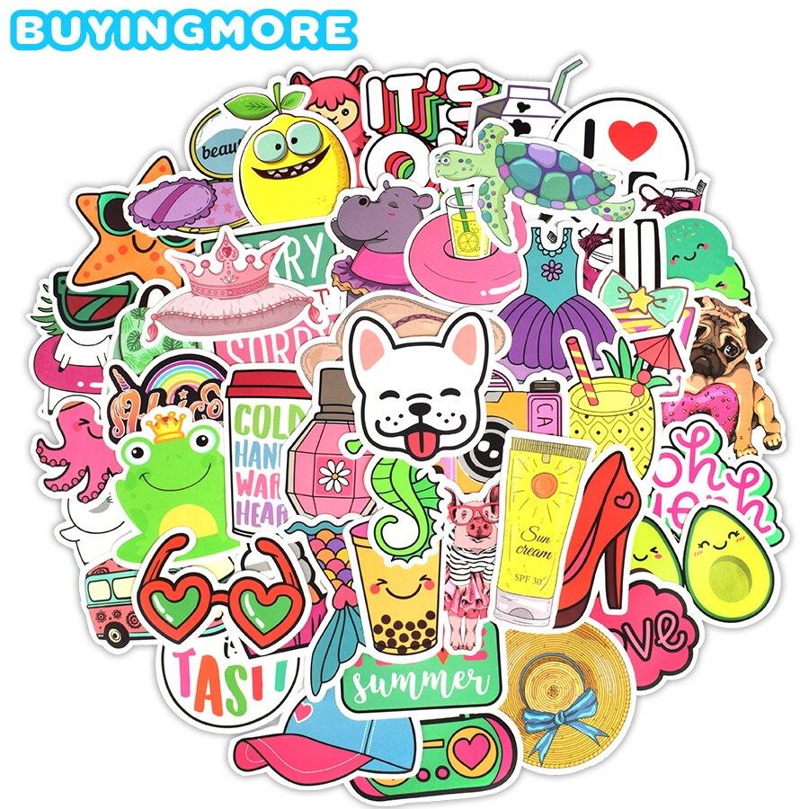 50 PCS Pink Cartoon Sticker Girl Style Cute Anime Animal Kawaii Graffiti Sticker For Girl Teen DIY Cosmetic Case Laptop Suitcase