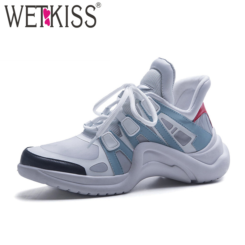цена на WETKISS Genuien Leather Women Flats Lace Up Round Toe Flat With Footwear Fashion Casual Platform Sneakers Shoes Autumn 2018 New