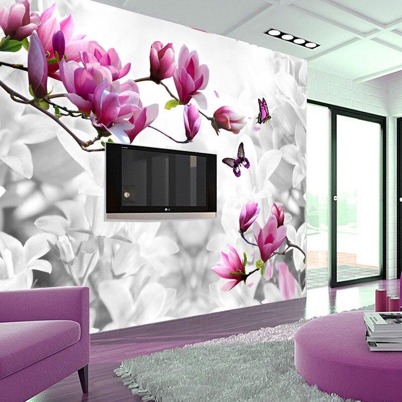 ... Fashion Custom Optional Materials 3d Wallpaper Hot Sale Butterfly  Flower Wall Mural Tv Backdrop Ceiling Fresco