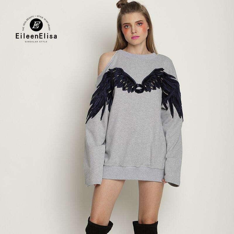 Eileen Elisa Off Shoulder Sweatshirt Oversize Loose Pullovers Sweatshirts For Women 2017 Designer Wings Sweatshirt Runway