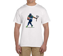 Of Ham and Hammer Marshawn Lynch 24 100% cotton t shirts Mens o-neck fashion T-shirts fans gift 0216-7