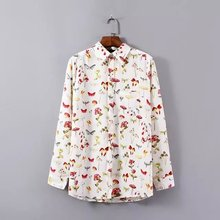 Style School Women Blouses Elegant Floral Printed Shirts Turn Down Collar Long Sleeve Shirt Vogue Lady OL Blusa Feminina CJ4581