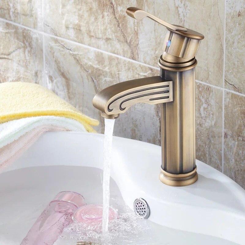 Bathroom Kitchen Basin Faucet Antique Bronze Finish Brass Mixer Tap Hot and Cold Sink Faucet Bath Accessories HOT SALE GZ7003