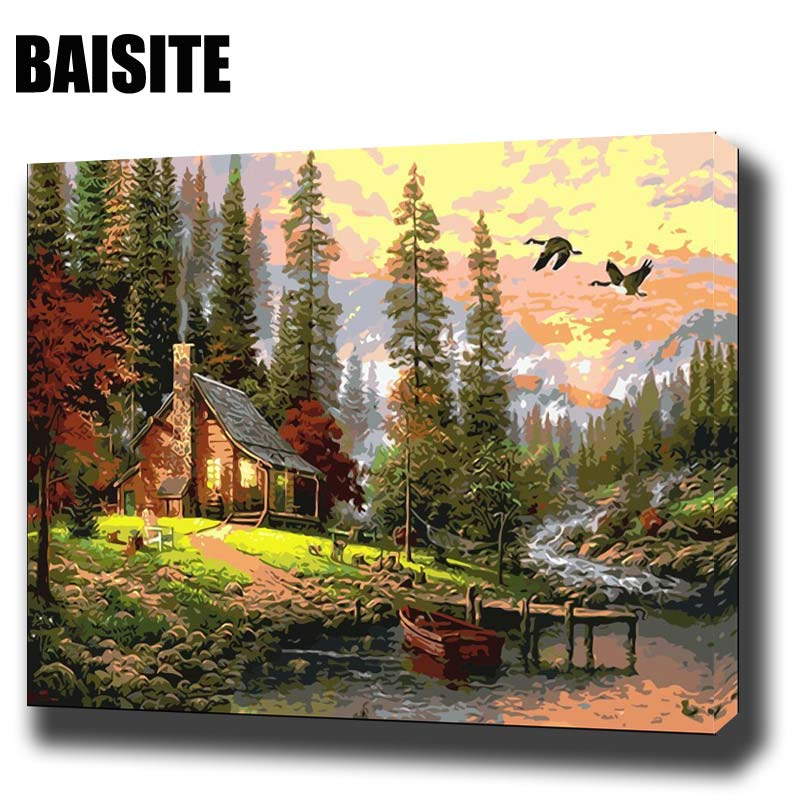 Baisite diy framed oil painting by numbers landscape pictures canvas painting for living room for Oil painting for living room