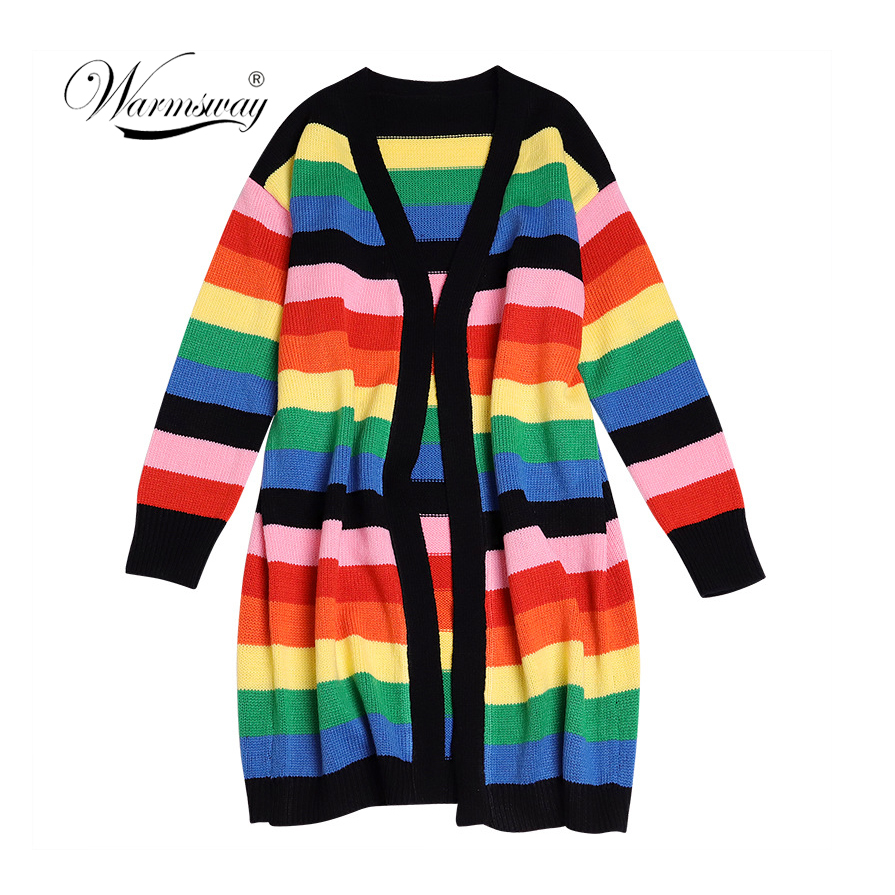 2020 New Fashion Women Rainbow Oversized Cardigan Long Knitted Sweater Cape Tops Femme Warm Sweaters Sueter Mujer C-396