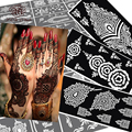 10 pcs Henna Tattoo Stencils Mehndi Indian Templates,Airbrush Lace Flower Hand Foot Wrist Henna Tattoo Stencils  For Body Paint