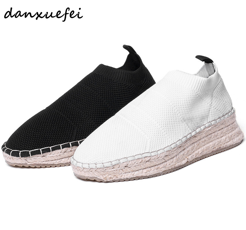 Womens Platform Flats Hemp Bottom Stretch Knitting Slip-on Loafers Leisure Espadrilles Comfortable Moccasins Sneakers Shoes HotWomens Platform Flats Hemp Bottom Stretch Knitting Slip-on Loafers Leisure Espadrilles Comfortable Moccasins Sneakers Shoes Hot