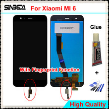 Sinbeda For Xiaomi MI 6 LCD Display Touch Screen Front-Mounted Fingerprint Digitizer Assembly For Xiaomi Mi6 5.15″ Replacement