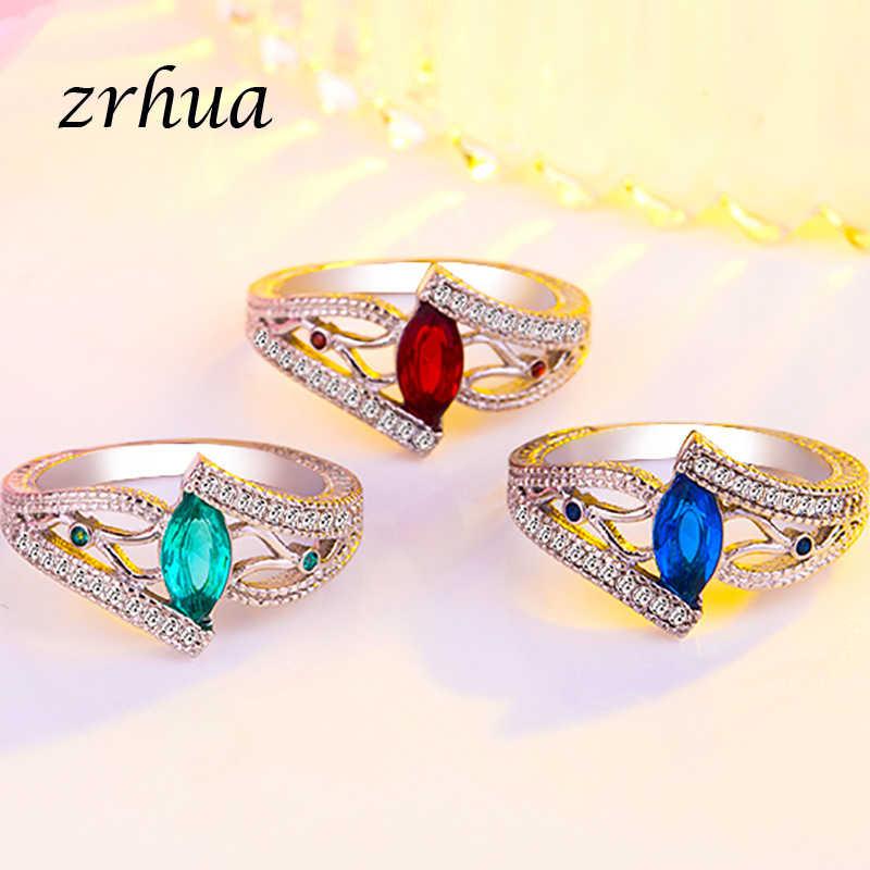 Original 925 แหวนเงินสำหรับผู้หญิง Vintage Engagement Anillos สีฟ้า/สีแดง/สีเขียว AAA Zircon เครื่องประดับหญิง anel