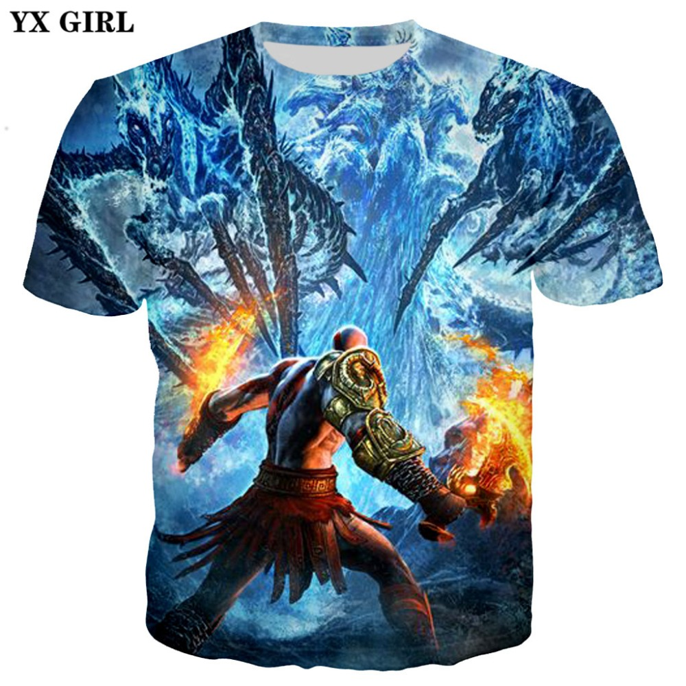 YX GIRL Drop shipping 2018 Summer New Fashion Mens 3d t-shirt Game God of War Printed Men/Women t shirts Harajuku Tee shirts
