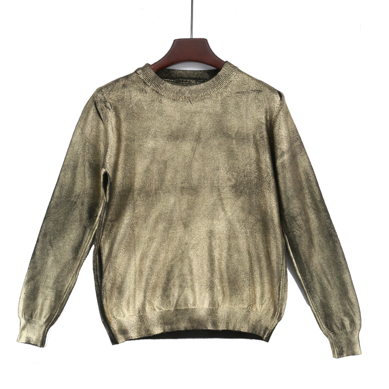 YELL ROLAN 2018 Fashion Women Bronzing Golden Tops Christmas Pink Sweater Spring Solid Knitting Pullover Deep O Neck Jumper New