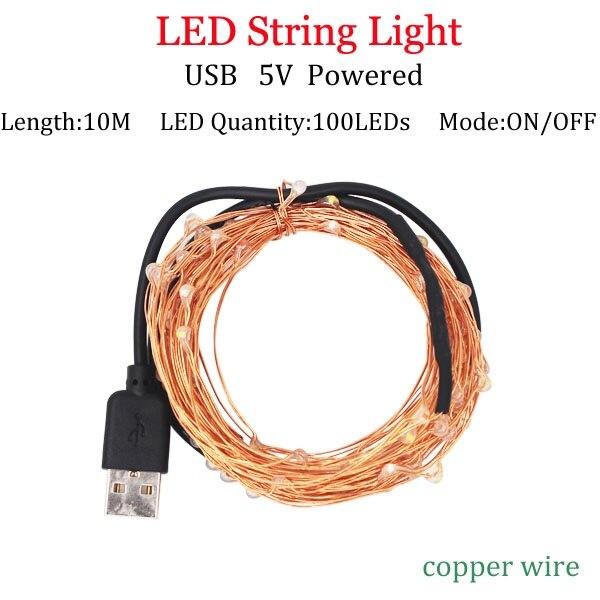 Светодиодный светильник-гирлянда s 10 м 5 м 2 м, серебряная гирлянда, украшение для дома, Рождества, свадьбы, вечеринки, питание от батареи 5 В, USB, сказочный светильник - Испускаемый цвет: 10m USBCopperpowered