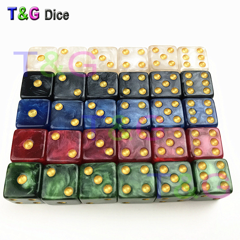 Pearlized Effect 10PCS 12MM High Quality Dice D6 Gambling Dice Marble Effect With Golden Dots Dice Game Accessories