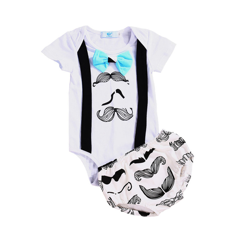 Fashion 2017 Summer Newborn Infant Baby Boy Clothes Cute Bow tie Gentleman Romper Jumpsuit Top+Shorts 2Pcs Outfits Clothing Set