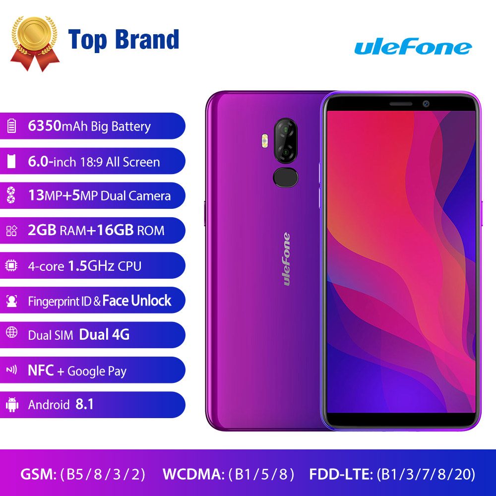Ulefone Power 3L Face Unlock Android 8.1 Mobile Phone MT6739 Ouad Core Cellphone 2GB 16GB 6.0'' Dual SIM Fingerprint Smartphone
