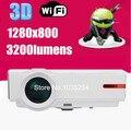 Горячая распродажа! 5500 lumens Android 4.4.2 домашнего кинотеатра из светодиодов проектор full hd 1280 * 800 wifi 3D TV видео 720p1080p проектор лучемет