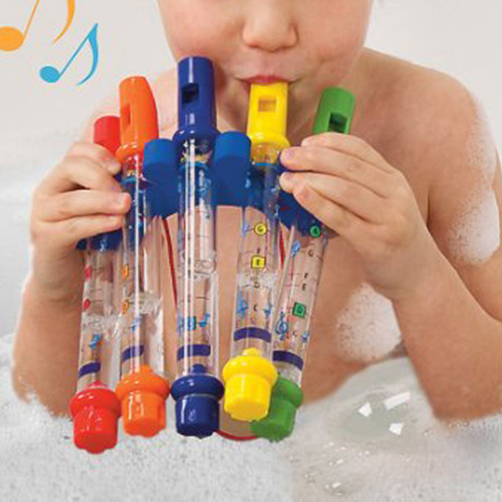 5pcs 1 Row New Kids Children Colorful Water Flutes Bath