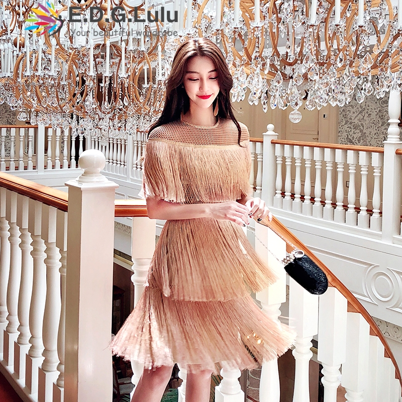 Vestido de franja do vintage elegante da festa sexy clube desgaste praia malha apertada streetwear vestido runway mulheres vestido do verão 2018 borla