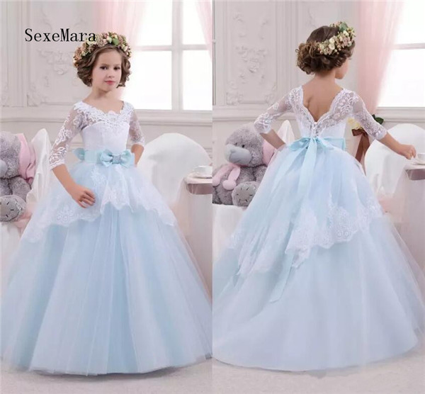 Real Photo Half Sleeves Flower Girl Dresses For Weddings Appliques Ruffles with Sash Ball Gowns Girl Pageant Gowns Formal Dress green crew neck roll half sleeves mini dress