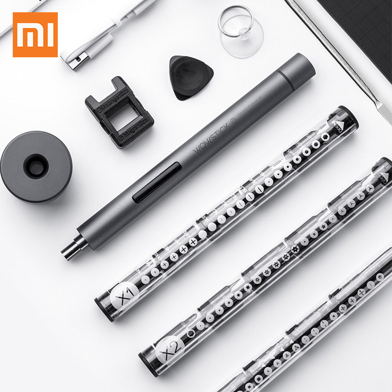 Original Xiaomi Wowstick 1F Upgraded Electric Screwdriver 56 Bits Cordless Lithium ion Charge LED Aluminum Alloy