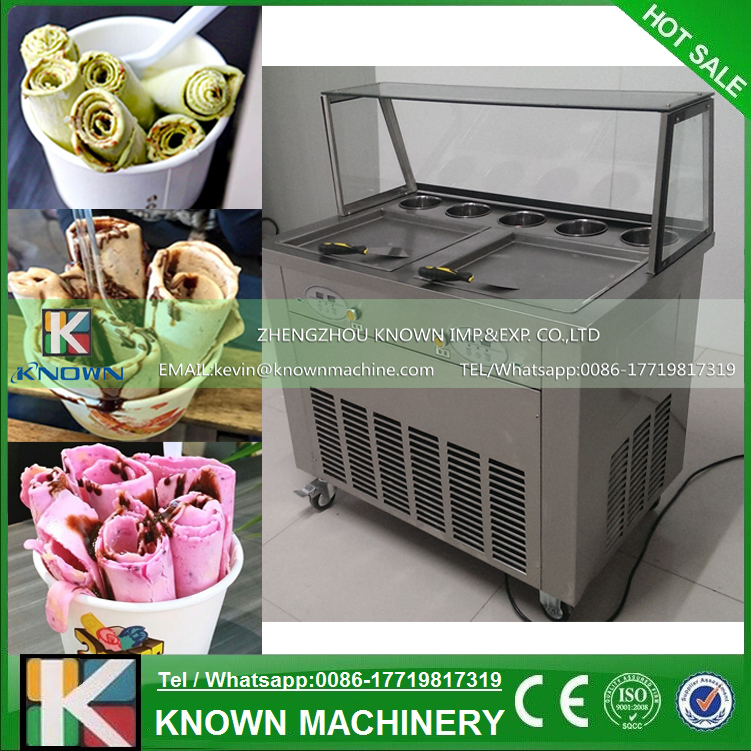 Free Shipping By Sea 110V 220V Double Square Pans With 5 Topping Tanks Of Fried Ice Cream Roll Machine With R410A Refrigerant