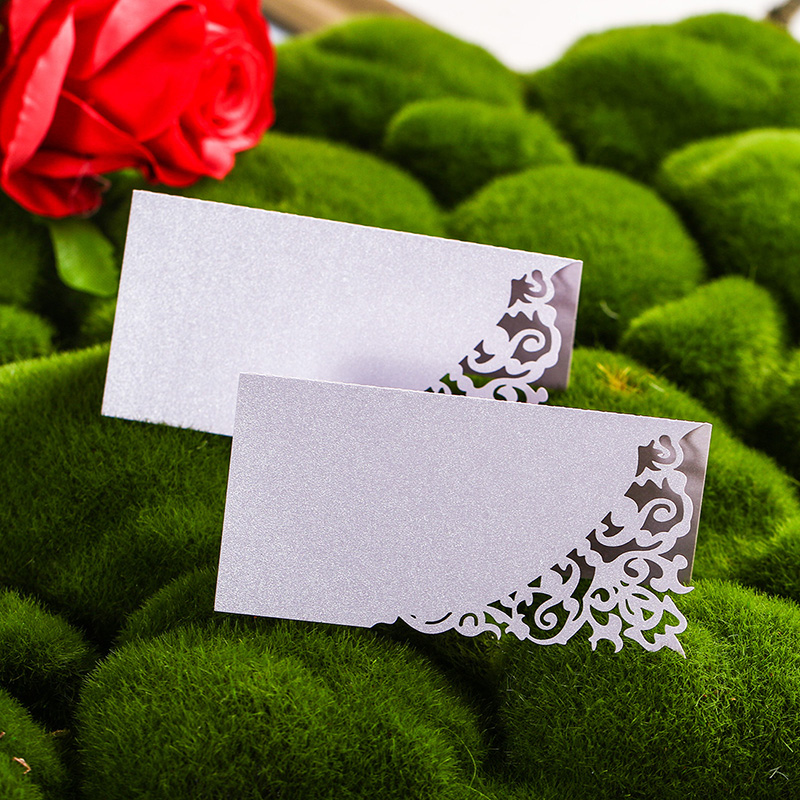 12PCS Wholesale Laser Cut Table Place Name Card High Quality Paper Vine Seat Cards Wedding Decorative Souvenirs Party Favor 1 design laser cut white elegant pattern west cowboy style vintage wedding invitations card kit blank paper printing invitation