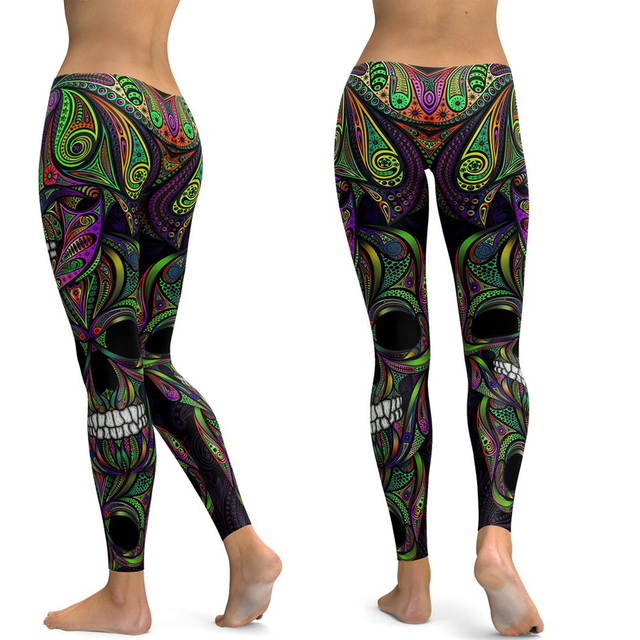 Skull Leggings Women Yoga Pants Gym Leggings Fitness Sports Wear Elastic Tight Yoga Leggings