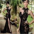 2017 Elegante Beading Dividir Evening Vestidos Rami Salamoun Appliqued Alta Neck Sereia Vestidos de Lantejoulas Longo Vestido de Baile Real Barato