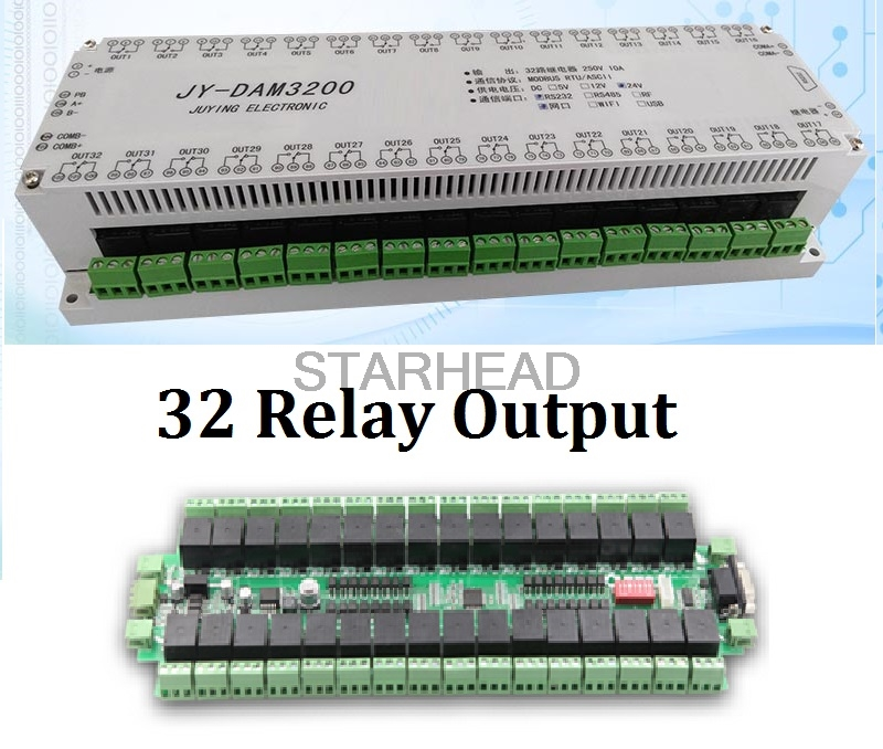 Customizable 32 Channels Relay Controller Isolated Board RS232 RS485 Wifi Ethernet, Modbus RTU, TCP UDP PC Android APP With Case