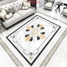 beibehang Custom size European marble mosaic tile retro water knife pattern self-adhesive floor stickers PVC material