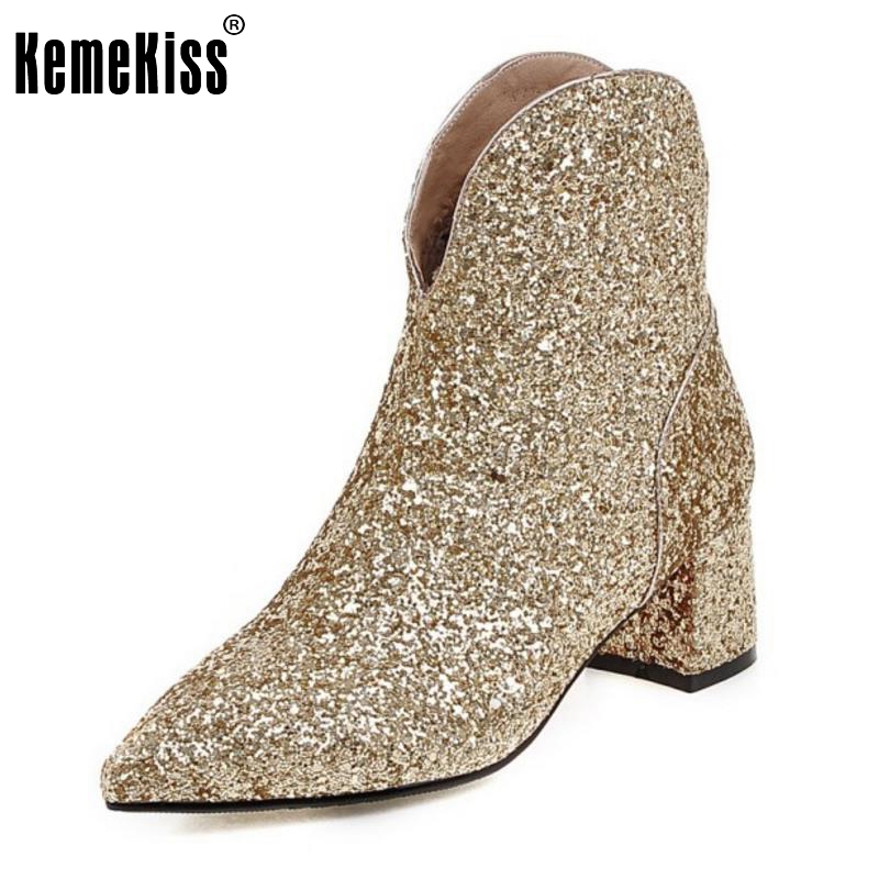 Women Fashion Pointed Toe Ankle Boots Woman Square Heel Short Botas Brand New Ladies Glitter Footwear Shoes Woman Size 32-43 new 2017 spring summer women shoes pointed toe high quality brand fashion womens flats ladies plus size 41 sweet flock t179